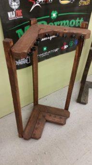 Reclaimed Wood Corner Floor Rack with Clips
