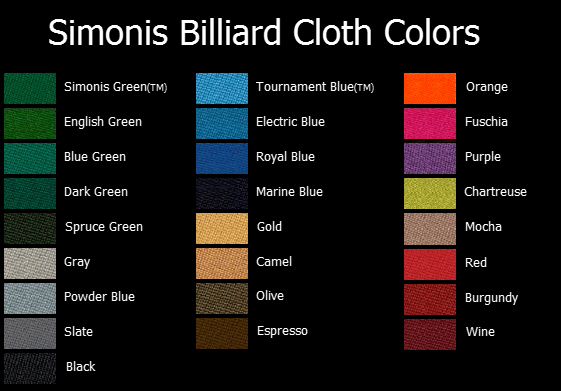Billiards Table Cloth And Colors From AcCueRate Billiards - Simonis pool table felt colors