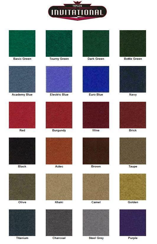 Custom Pool Table Cloth Colors